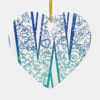 Wellcoda Apparel Big W Life Alphabet Word Ceramic Heart Decoration
