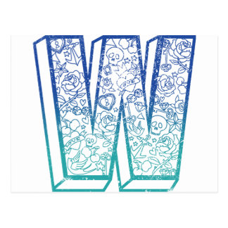 Wellcoda Apparel Big W Life Alphabet Word Postcard