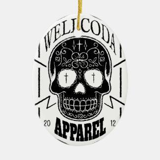 Wellcoda Apparel Candy Skull Aztec Style Ceramic Oval Decoration