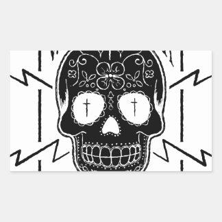 Wellcoda Apparel Candy Skull Aztec Style Rectangular Sticker