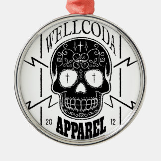 Wellcoda Apparel Candy Skull Aztec Style Silver-Colored Round Decoration