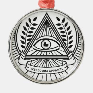 Wellcoda Apparel Illuminati Secret Life Silver-Colored Round Decoration