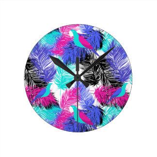 Wellcoda Apparel Parrot Forest Wild Bird Round Clock
