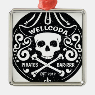 Wellcoda Apparel Pirates Bar Skull Bones Christmas Ornament
