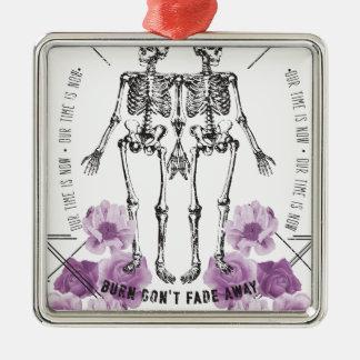 Wellcoda Apparel Skeleton Life Fade Away Silver-Colored Square Decoration