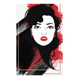 Wellcoda Beautiful Lady Style Retro Art Stationery