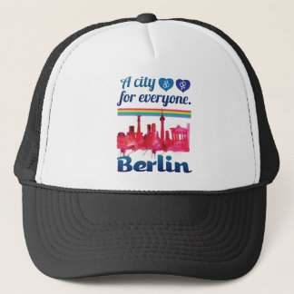 Wellcoda Berlin For Everyone Loving City Trucker Hat