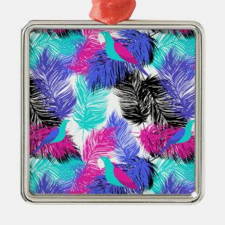 Wellcoda Bird Of Paradise Life Parrot Fun Silver-Colored Square Decoration