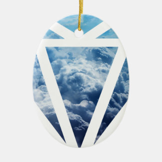 Wellcoda Blue Diamond Sky Cloud Jewel Love Ceramic Oval Decoration