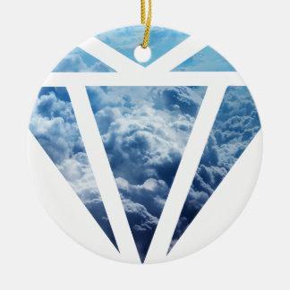 Wellcoda Blue Diamond Sky Cloud Jewel Love Round Ceramic Decoration