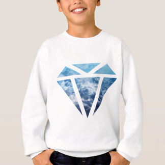 Wellcoda Blue Diamond Sky Cloud Jewel Love Sweatshirt