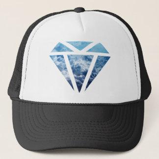 Wellcoda Blue Diamond Sky Cloud Jewel Love Trucker Hat