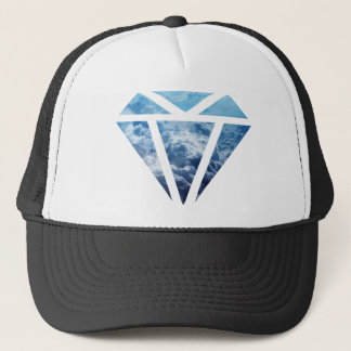 Wellcoda Blue Diamond Sky Cloud Jewel Love Trucker Hat