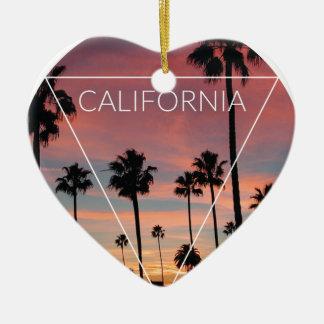 Wellcoda California Palm Beach Sun Spring Ceramic Heart Decoration