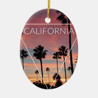 Wellcoda California Palm Beach Sun Spring Ceramic Oval Decoration