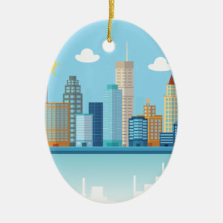 Wellcoda Cartoon City Sky Line Happy Town Christmas Ornament
