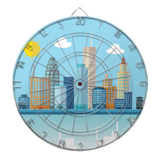 Wellcoda Cartoon City Sky Line Happy Town Dartboard