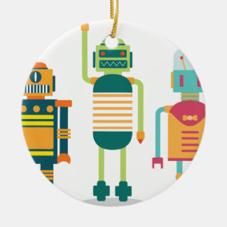 Wellcoda Cartoon Robot Heroes Future Life Christmas Ornament