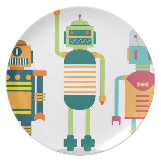 Wellcoda Cartoon Robot Party Kid Fun Life Plate
