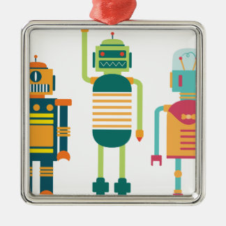 Wellcoda Cartoon Robot Party Kid Fun Life Silver-Colored Square Decoration