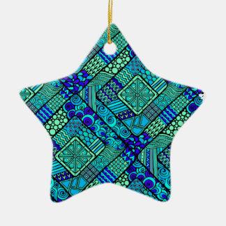 Wellcoda Chinese Style Pattern Crazy Vibe Ceramic Star Decoration