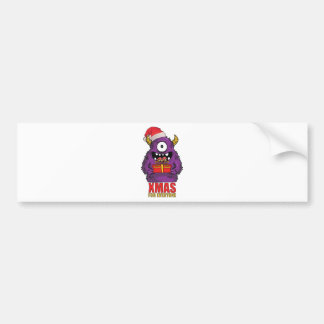 Wellcoda Christmas Monster One Eyed Freak Bumper Sticker