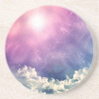 Wellcoda Cloud Sky Hexagon Love Shape Fun Coaster