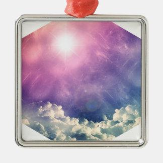 Wellcoda Cloud Sky Hexagon Love Shape Fun Silver-Colored Square Decoration