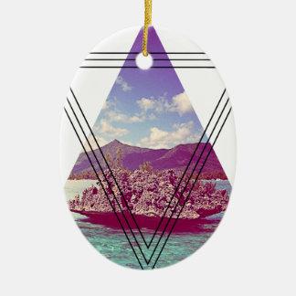 Wellcoda Coral Island Triangle Paradise Christmas Ornament