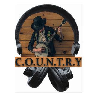 Wellcoda Country Headphone Music Guitar Postcard