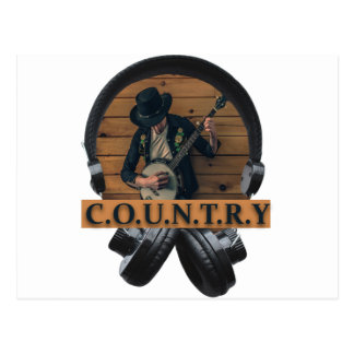 Wellcoda Country Headphone Music Guitar Postcard