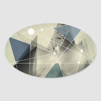 Wellcoda Crazy Abstract Print Geometric Oval Sticker