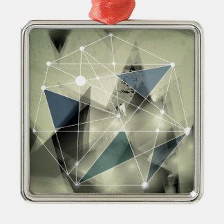 Wellcoda Crazy Abstract Print Geometric Silver-Colored Square Decoration