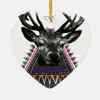 Wellcoda Crazy Tribal Deer Stag Animals Christmas Ornament