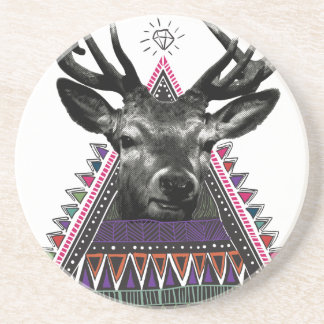 Wellcoda Crazy Tribal Deer Stag Animals Coaster