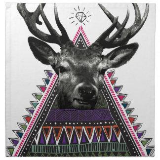 Wellcoda Crazy Tribal Deer Stag Animals Napkin