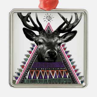 Wellcoda Crazy Tribal Deer Stag Animals Silver-Colored Square Decoration