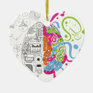 Wellcoda Creative Brain Mind Master Side Ceramic Heart Decoration
