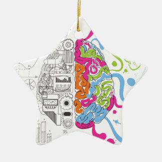 Wellcoda Creative Brain Mind Master Side Ceramic Star Decoration