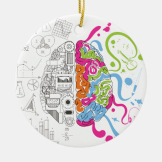 Wellcoda Creative Brain Mind Master Side Round Ceramic Decoration