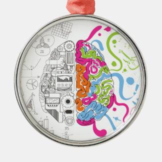 Wellcoda Creative Brain Mind Master Side Silver-Colored Round Decoration