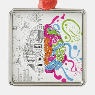 Wellcoda Creative Brain Mind Master Side Silver-Colored Square Decoration