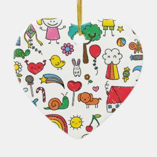 Wellcoda Cute Little Kids Dream Love Life Ceramic Heart Decoration