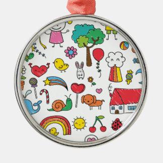 Wellcoda Cute Little Kids Dream Love Life Silver-Colored Round Decoration