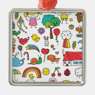 Wellcoda Cute Little Kids Dream Love Life Silver-Colored Square Decoration