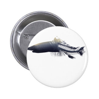 Wellcoda Dead Shark Eaten Fish Ocean Life 6 Cm Round Badge
