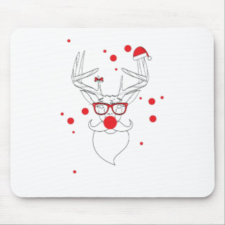 Wellcoda Deer Hipster Winter Geek Holiday Mouse Pad