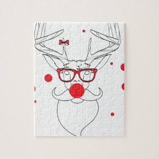 Wellcoda Deer Hipster Winter Geek Holiday Puzzles