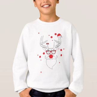 Wellcoda Deer Hipster Winter Geek Holiday Sweatshirt