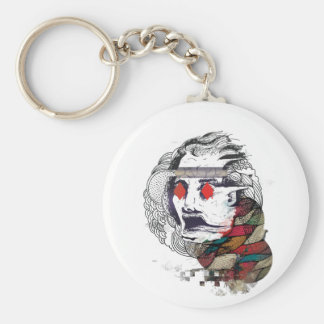 Wellcoda Diamond Eye Face Vibe Graphic Basic Round Button Key Ring